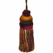 50cm Key Tassel with a 10cm Cord, Brown/Rust and Gold