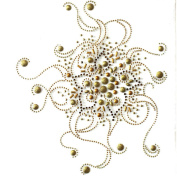 Rhinestone Iron on Transfer Hot Fix Motif Crystal Fashion Design Gold Universe 3 Sheets 11.6*29cm