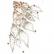 Rhinestone Iron on Transfer Hot Fix Motif Crystal Fashion Design Gold Line 3 Sheets 9* 39cm