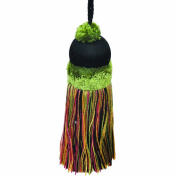 50cm Key Tassel with a 10cm Cord, Black/Green and Gold