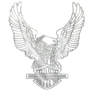 Rhinestone Transfer Hot Fix T-shirt Clothing Crafts Cushion Crystal Big Eagle 3 Sheets 10.6*31cm