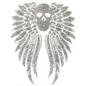 Rhinestone Iron on Transfer Hot Fix Motif Crystal Fashion Design Skull Wings 3 Sheets 11.2*33cm