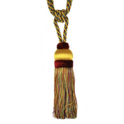 Single Tassel Tieback with 20cm Tassel and 80cm Spread, Yellow/Red and Green