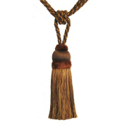 Single Tassel Tieback with 20cm Tassel and 80cm Spread, Brown/Rust and Gold