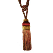 Single Tassel Tieback with 20cm Tassel and 80cm Spread, Garnet and Gold