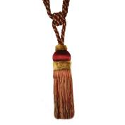 Single Tassel Tieback with 20cm Tassel and 80cm Spread, Garnet and Gold