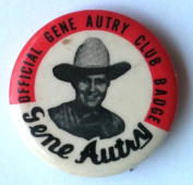 OFFICIAL GENE AUTRY FAN CLUB Pin Back Button CELLULOID BADGE 1940's