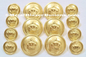 Premium WATERBURY 14pc Polished GOLD Metal DOUBLE BREASTED ~GOLD CROWN~ METAL BLAZER BUTTON SET