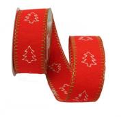 Renaissance 2000 Ribbon, 6.4cm , Tree Pattern, Red