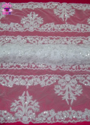 BL B/S 13 140cm Wide Beaded & Sequined Alencon Lace Remembrance Fabric by the Yard