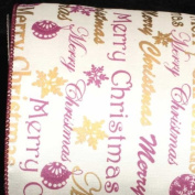 """""""Merry Christmas"""" Printed Purple/Gold and White Wired Craft Ribbon 13cm x 20 Yards"""