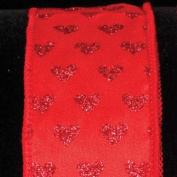 Sparkling Hearts Romantic Red Wired Craft Ribbon 3.8cm x 40 Yards