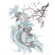 Rhinestone Iron Transfer Hot Fix Motif Crystal Cherry Blossom Fish Fashion Design 3 Sheets 7.6*26cm
