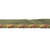0.6cm Cord with Lip on 25-Yard Roll, Green/Rust and Gold