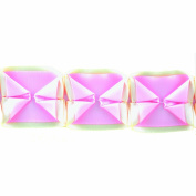Boxed Pleated Ribbon 100-Percent Polyester Ribbon, Pink/Ivory