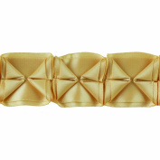 Boxed Pleated Ribbon 100-Percent Polyester Ribbon, Gold