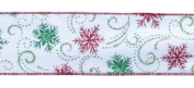 Pack of 6 Glitter Snowflake & Scroll Motif Wired Christmas Ribbon 6.4cm x 60 Yds