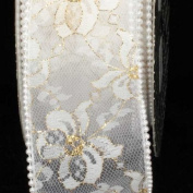 Designer Pure White Wired Pearl Edge Lace Craft Ribbon 6.4cm x 20 Yards