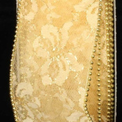 Designer Soft Gold Wired Pearl Edge Lace Craft Ribbon 6.4cm x 20 Yards