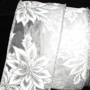 Elegant Shimmering Silver Poinsettia Wired Craft Ribbon 6.4cm x 40 Yards