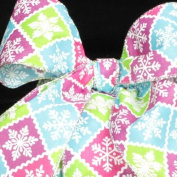 Snowflake Lattice Blue, Pink and Green Wired Craft Ribbon 6.4cm x 40 Yards