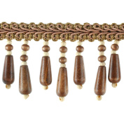 Beaded Trim BB-937-66 5.1cm Wood Bead Trim with 0.6cm Braid, 10-Yard Roll, Chestnut