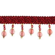 Beaded Trim BB-925-17/10 3.8cm Acrylic Beaded Trim with 1.3cm Braid, 15-Yard Roll, Crimson