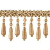 Beaded Trim BB-937-18 5.1cm Wood Bead Trim with 0.6cm Braid, 10-Yard Roll, Tawny