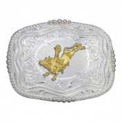 Rounded Square Silver Western Bull Rider Belt Buckle