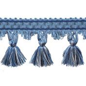 39cm Tassel Fringe on 25-Yard Roll, Blue and White