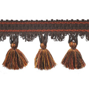 39cm Tassel Fringe on 25-Yard Roll, Brown/Rust and Gold