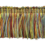 5.1cm Brushed Fringe on 25-Yard Roll, Yellow/Red and Green