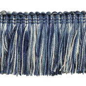 5.1cm Brushed Fringe on 25-Yard Roll, Blue and White