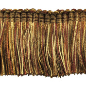 5.1cm Brushed Fringe on 25-Yard Roll, Burgundy and Gold