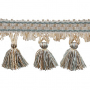 39cm Tassel Fringe on 25-Yard Roll, Mint and Beige