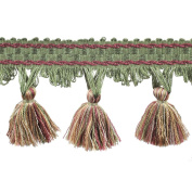 39cm Tassel Fringe on 25-Yard Roll, Green/Rust and Gold