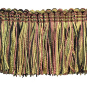5.1cm Brushed Fringe on 25-Yard Roll, Black/Green and Gold