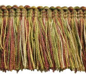 5.1cm Brushed Fringe on 25-Yard Roll, Green/Rust and Gold