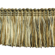 5.1cm Brushed Fringe on 25-Yard Roll, Mint and Beige