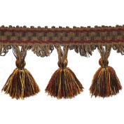 39cm Tassel Fringe on 25-Yard Roll, Burgundy and Gold