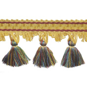 39cm Tassel Fringe on 25-Yard Roll, Yellow/Red and Green