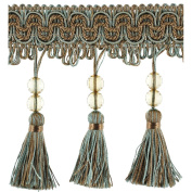 Beaded Trim BF-1458-11/38 11cm Acrylic Beaded Tassel Fringe with 3.8cm Braid, 25-Yard Roll, Truffle