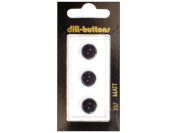 Dill 2 Hole Buttons 1.1cm . Black #337 3pc.