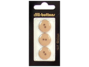 Dill 2 Hole Buttons 1.7cm . Brown #1001 3pc.