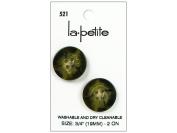 LaPetite 4 Hole Buttons 1.9cm . Olive #521 2pc.