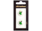 Dill Shank Buttons 1.6cm . Green Frog Prince #1571 2pc.