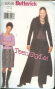 Butterick Teen Style Juniors Duster, Top Skirt and Pants Sewing Pattern # 6840