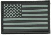 PVC Tactical USA Flag Patch - Black & Silver ACU
