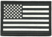 PVC Tactical USA Flag Patch - Black & White