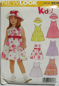 New Look 6579 Sewing Pattern ~ Children's, Girl's Sleeveless Dresses and Hat, Sizes 3-8
